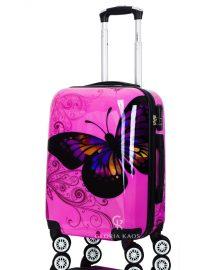 Gloria Kaos Black - Suitcase - Butterfly Fuxia 55cm - 001