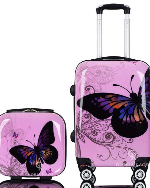 set farfalla rosa con vanity case