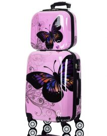 Gloria Kaos Suitcase - Bis Butterfly Pink 55cm Chrome + VC - 002